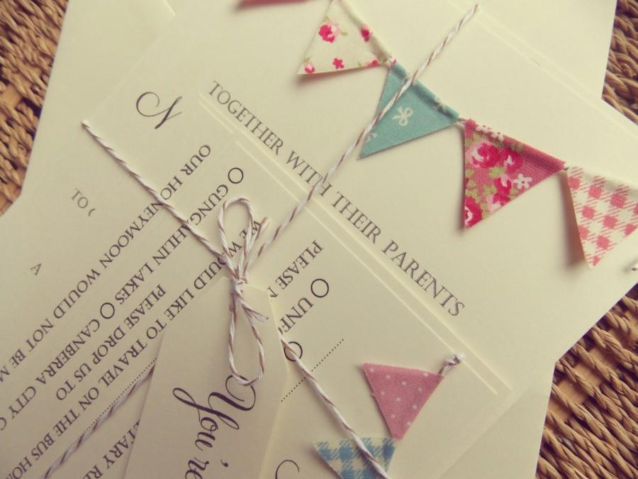 زفاف - Bunting Wedding Invitation. Unique Rustic Kraft Card with Bunting. Summer Fete Bunting on Ivory card with baker's twine
