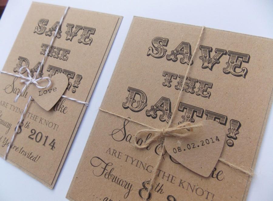 زفاف - Rustic Save The Date, Wedding Invitation, Kraft Card tied with twine and heart tag