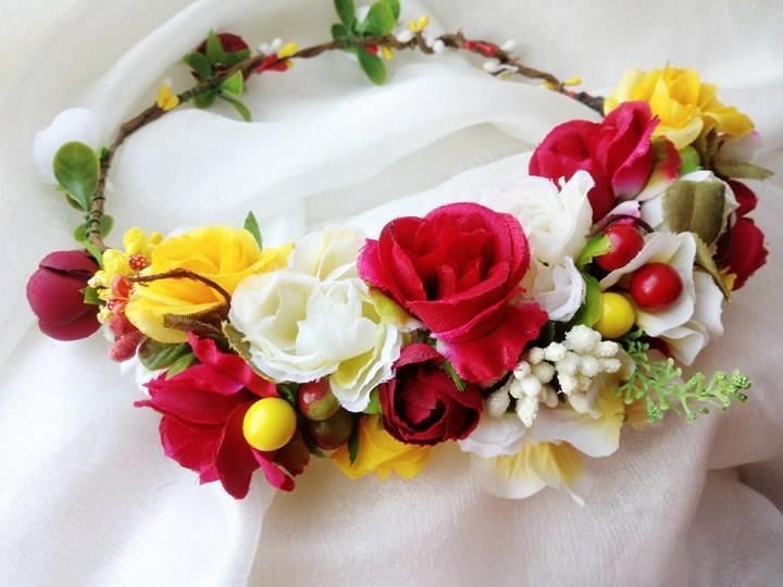 Wedding Flower Crown Red Yellow White Bridal Hair Wreath Headband