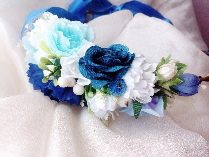 Blue white flower crown Wedding flower crown Bridal flower crown Bohemian flower  crown Wedding hair wreath Bridal flower crown Flower halo b2256a7b372