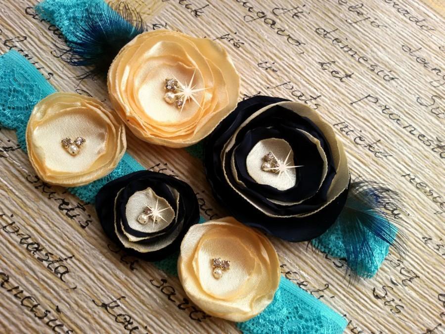 Свадьба - Blue wedding garter Black garter Gold garter set Blush garter Floral garter set Toss garter set Garter set Crystal garter set Peacock garter