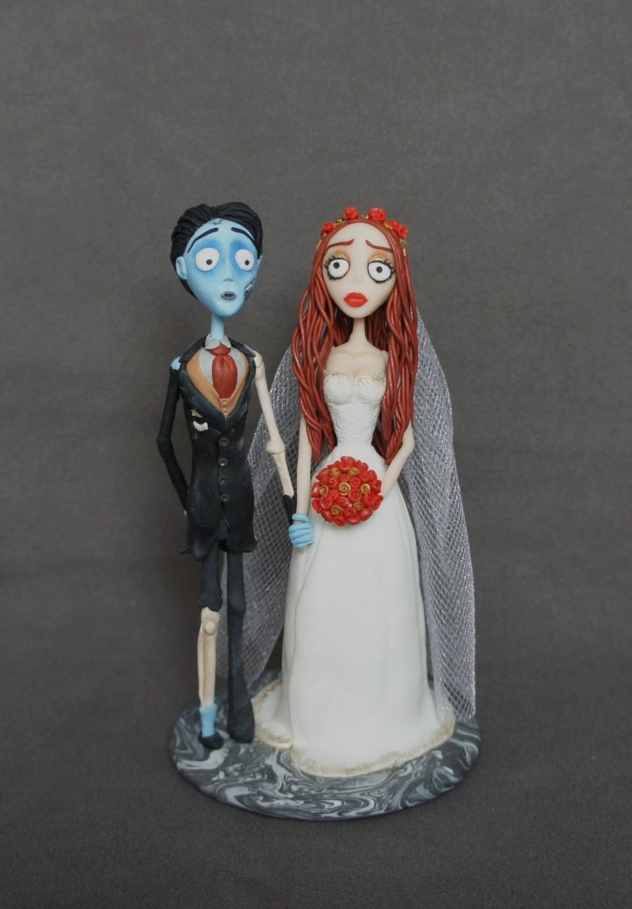 Mariage - Corpse Bride Wedding cake topper Corpse Groom Handmade Cake Topper Tim Burton Victor and Emily