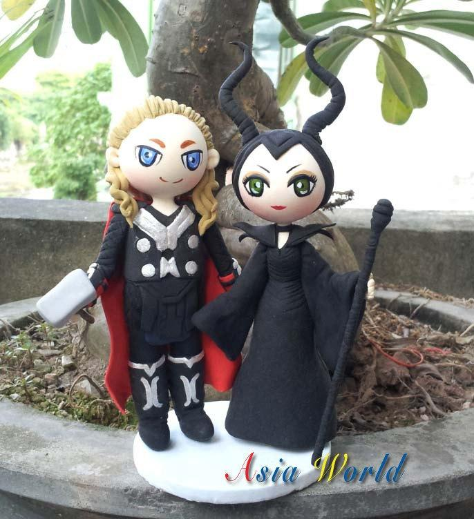 Cake Topper Wedding Thor And Maleficent Clay Doll Ring Holder Figurine Anniversary Miniature Toppers