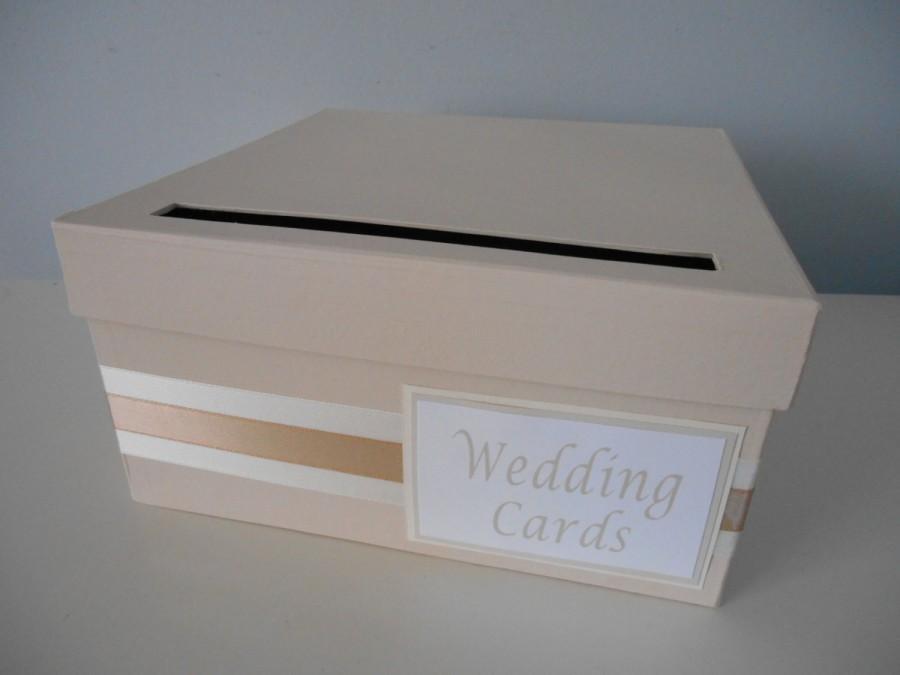 Wedding - Modern Wedding Card Box Bridal Shower Card Box Reception Card Box Custom Handmade Card Box, Blush Pink  Champagne Gold You Customize Colors