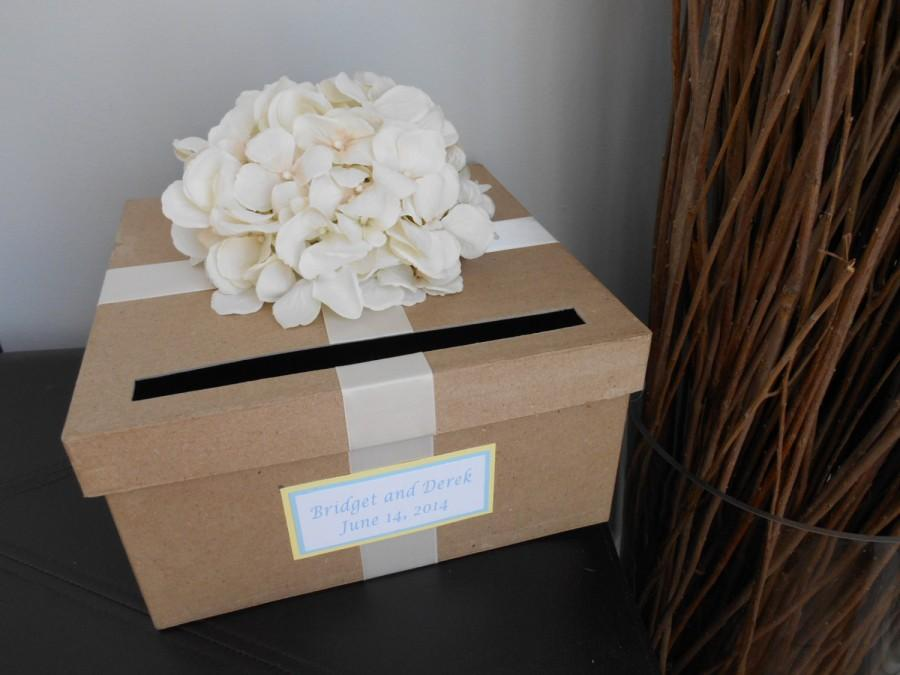 Mariage - Rustic Wedding Card Box Ivory Hydrangeas with Chalkboard Wood or Paper Personalized Tag