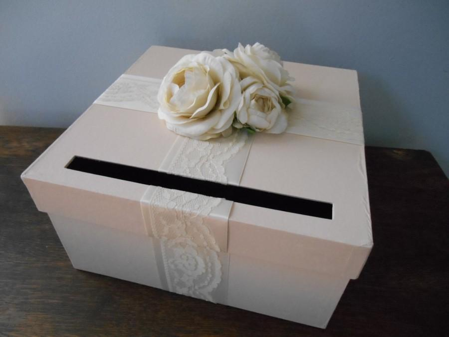 Mariage - Champagne Wedding Card Box with Ivory Lace satin ribbon and Ivory Ranunculus can customize colors and flowers