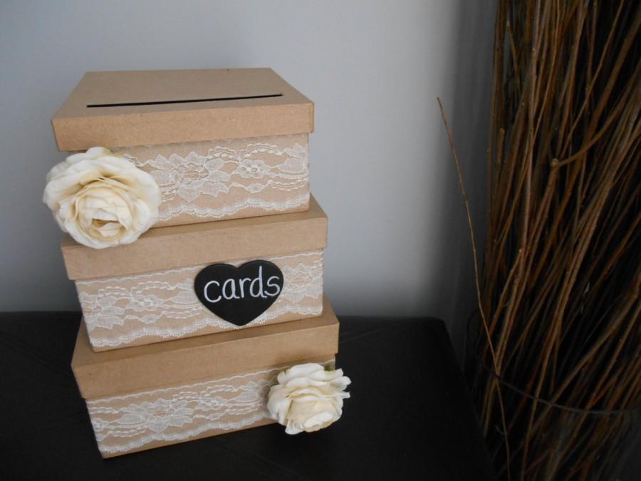 Mariage - Rustic Wedding Card Box Custom Made Money Card Holder for Wedding