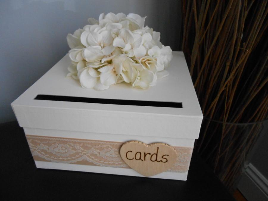 Mariage - Rustic Wedding Card Box with Ivory and Champagne, Lace,  Hydrangeas, Personalized Tag Can Customize Flowers and Colors