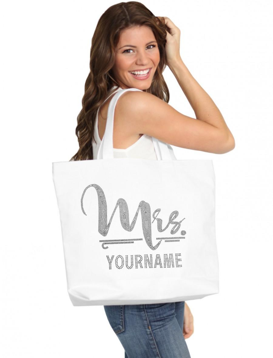 Mariage - Rhinestone Bag - Jumbo Rhinestone Mrs. & Last Name Tote Tote White:  Bridal Shower Gift, Bachelorette Party, Engagement, Carryall