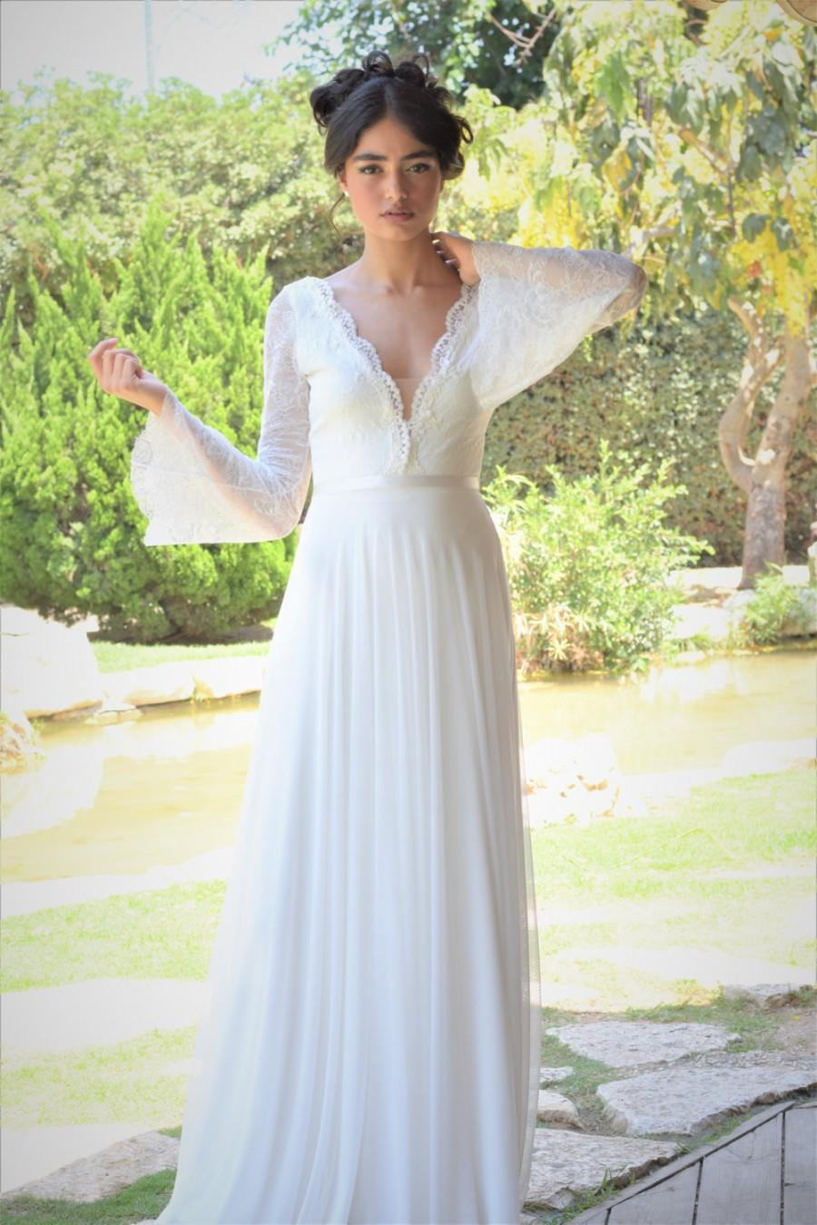 Ella - Romantic Wedding Dress With Long Lace Sleeves And Chiffon ...