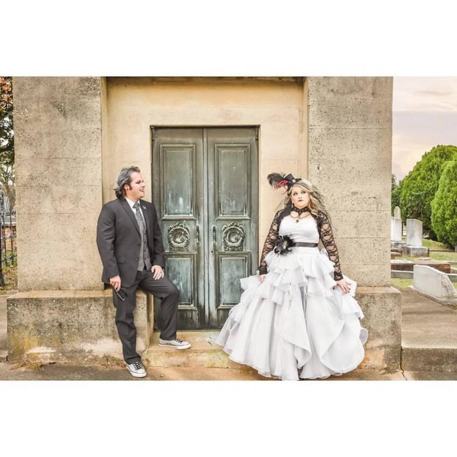 Wedding - Gray Gothic Wedding Dress Custom Made to your Measurements