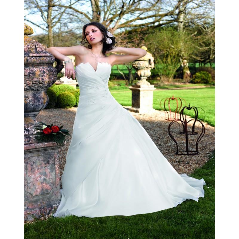 Wedding - Simple A-line Strapless Beading Lace Sweep/Brush Train Satin&Organza Wedding Dresses - Dressesular.com