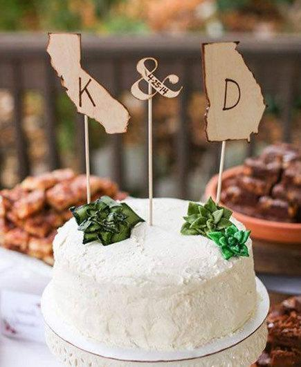 Mariage - Wood Cake Topper - Cake Toppers - Rustic Cake Topper - Personalized Cake Topper - Wedding Cake Topper - State Cake Topper Custom Cake Topper