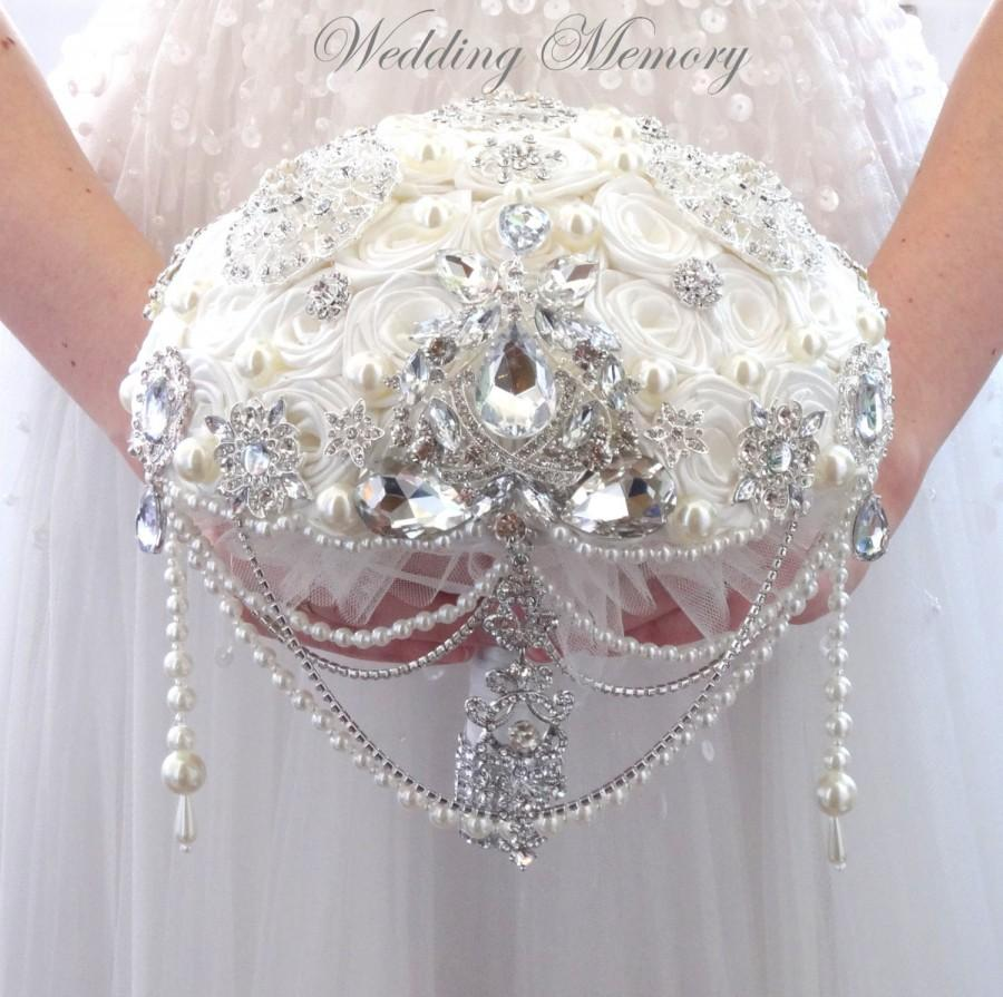 Mariage - BROOCH BOUQUET with cascading of pearls and crystals, ivory satin roses for wedding