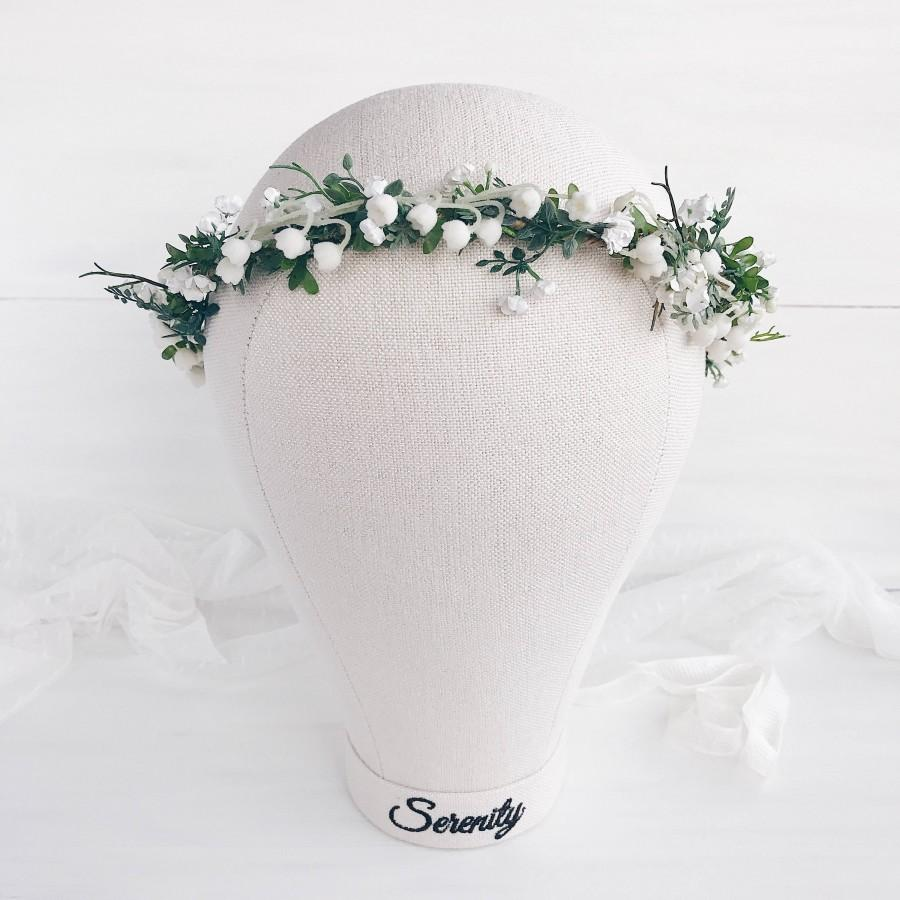 Mariage - Lilies of the valley,Bridal crown, Flower crown,Ivory flower crown,bridal flower crown, wedding crown,bridal floral crown,white flower crown
