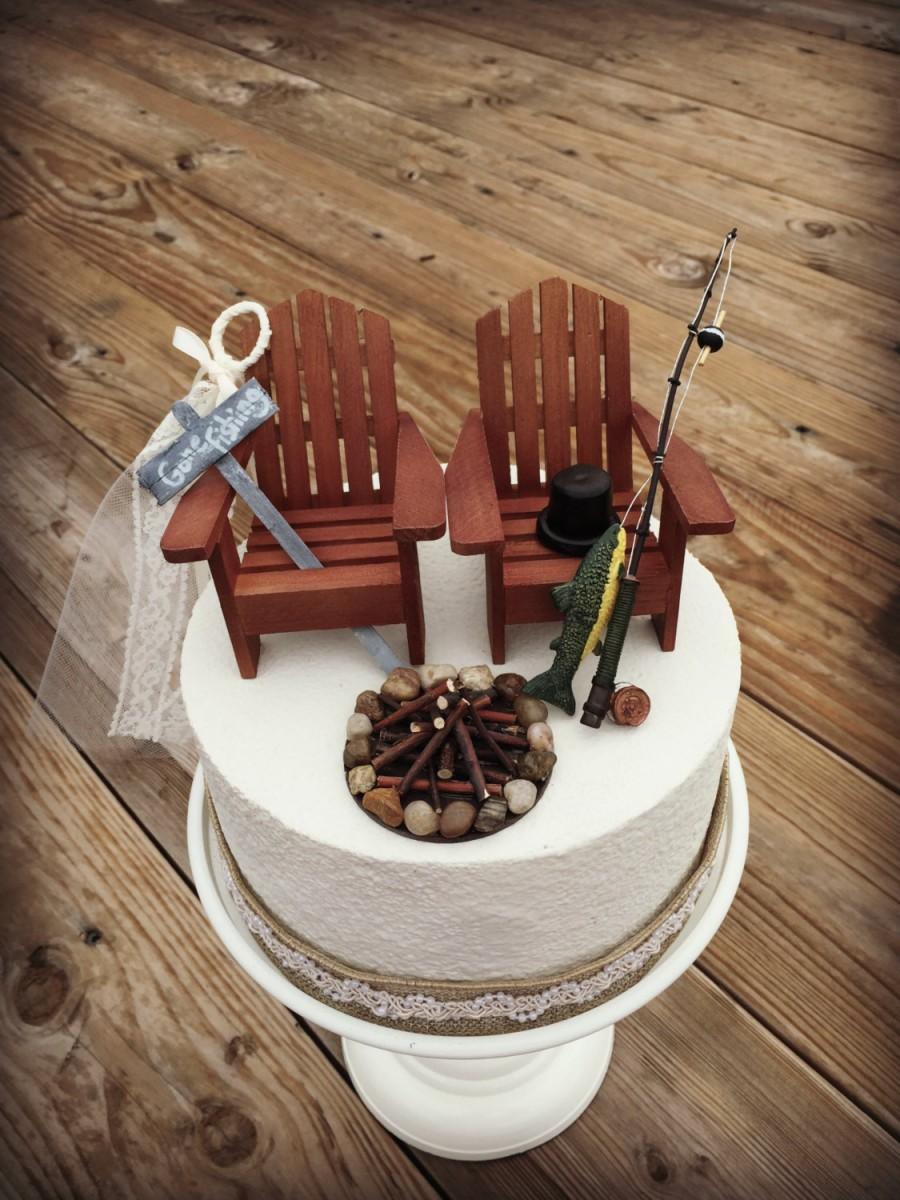 Rustic Fishing Wedding Cake Topper Etsy
