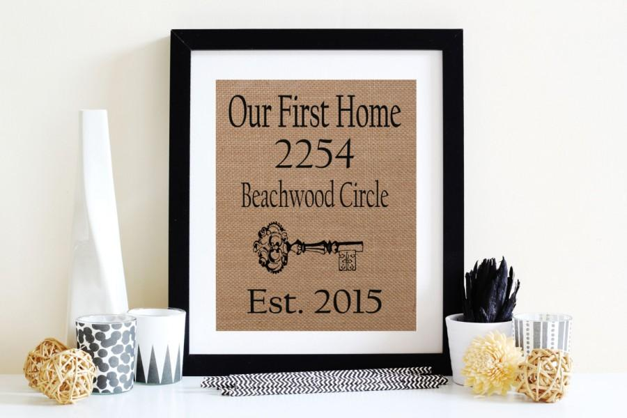 Wedding - Our First Home Burlap Print, New Home Sign, Burlap Wall Art, Burlap Family Sign, Home Address Print, Address Sign
