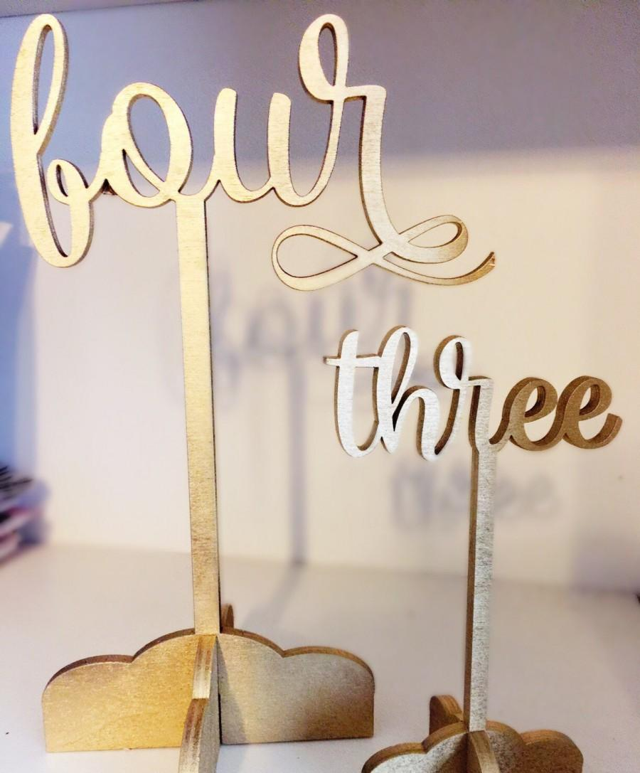 Mariage - Gold elegant wedding cursive table number - custom laser cut birch wood - 9 inches tall