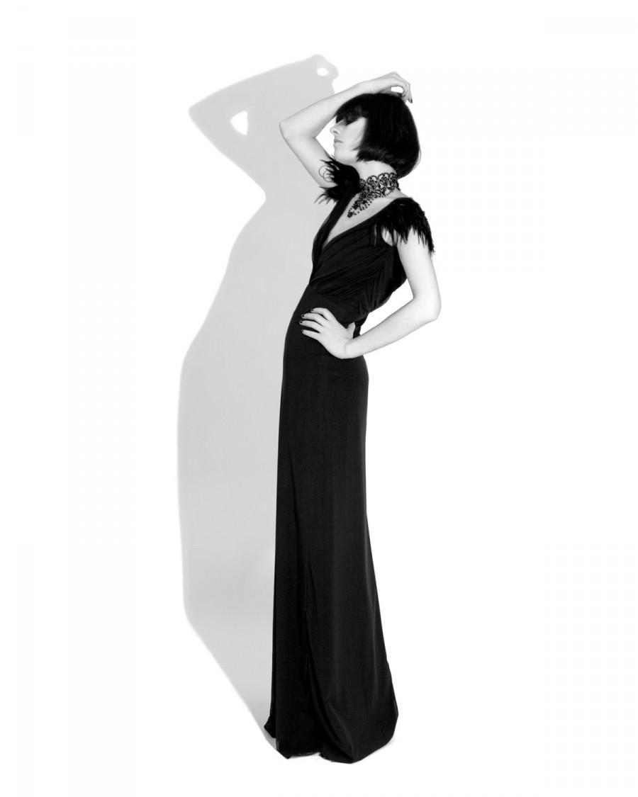 Wedding - Raven Dress, Couture, Feathers, Bridal, Bridesmaid Dress, Gothic, Black Dress, Alternative