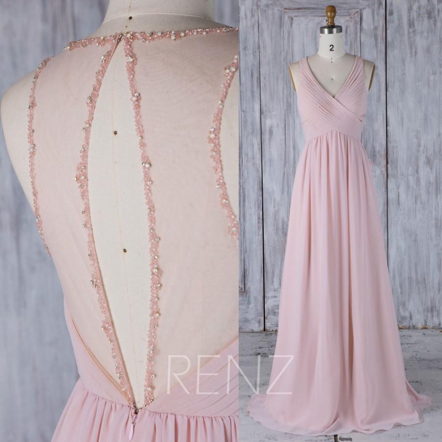 Wedding - 2017 Blush Chiffon Bridesmaid Dress, Ruched V Neck Wedding Dress, Key Hole Back Wedding Dress with Beading, A Line Prom Dress Full (H463)