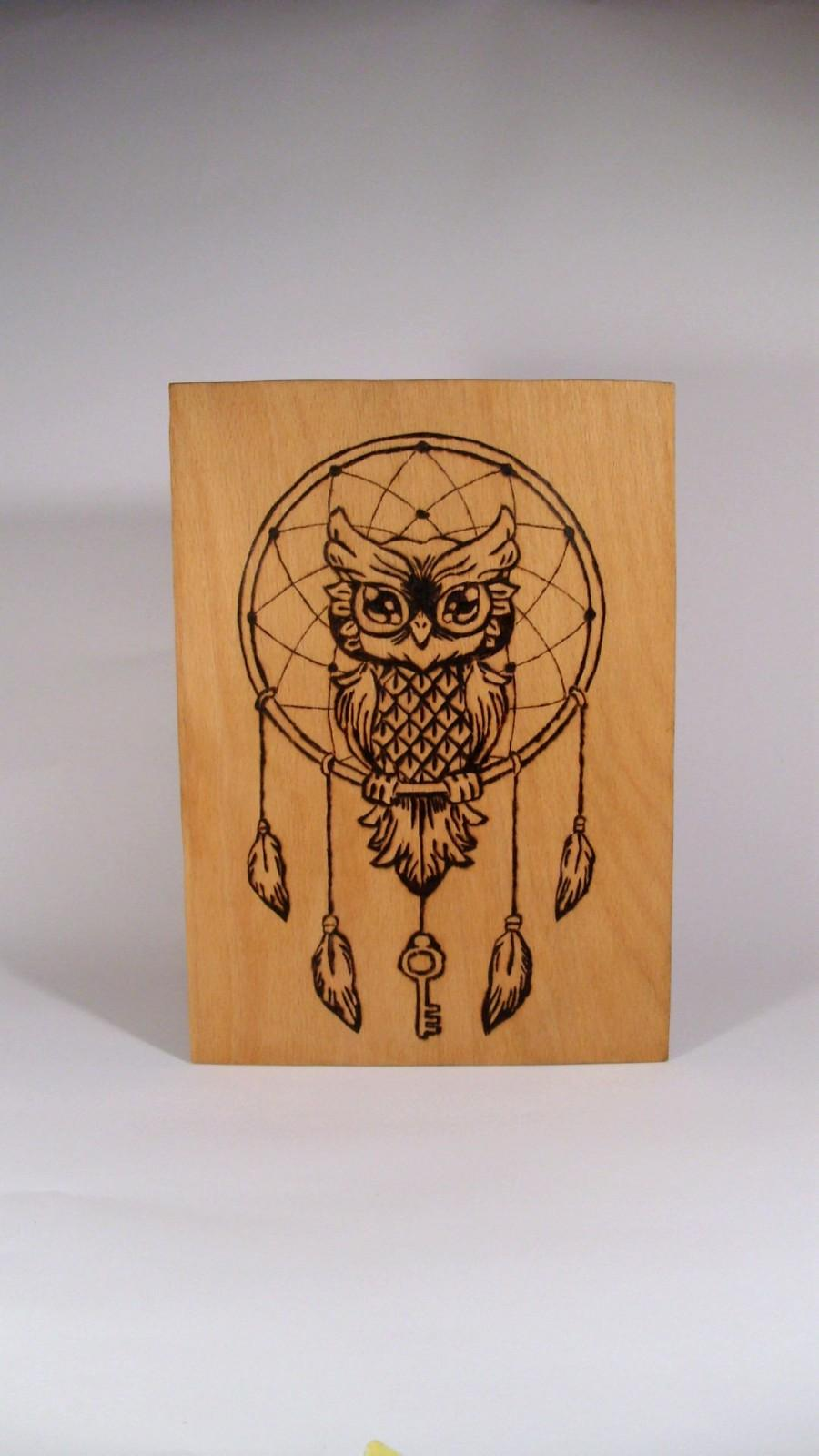Свадьба - FREE SHIPPINNG Handmade Owl Dreamcatcher Pyrography Picture