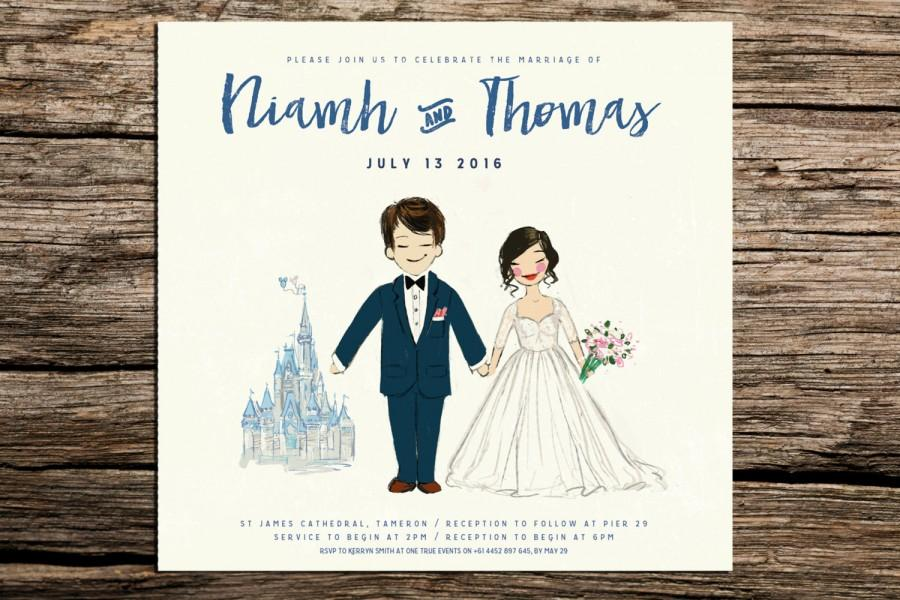 custom disney painted couple portrait wedding invitation or