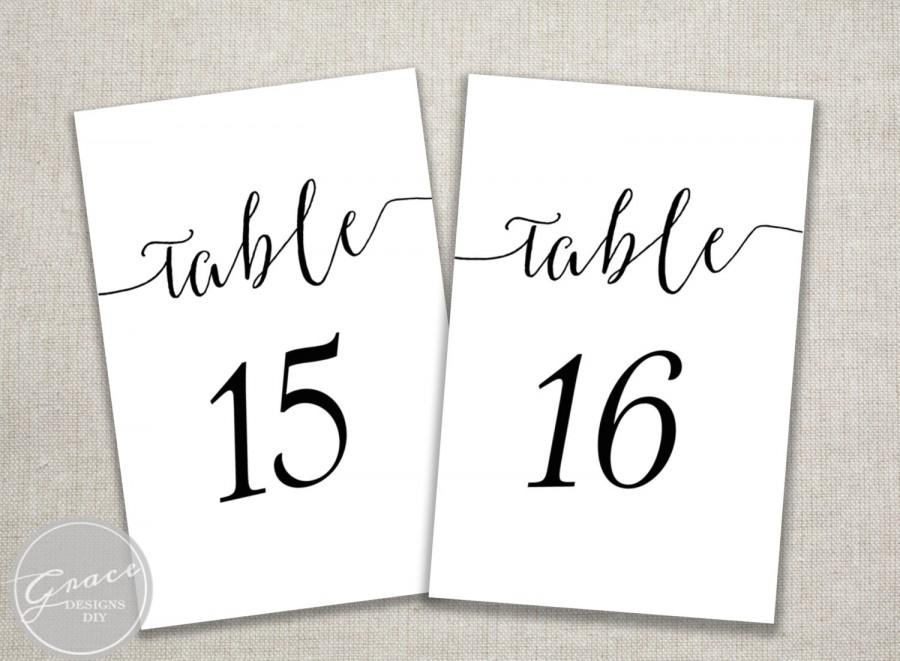table numbers template for weddings - black slant table numbers printable calligraphy style