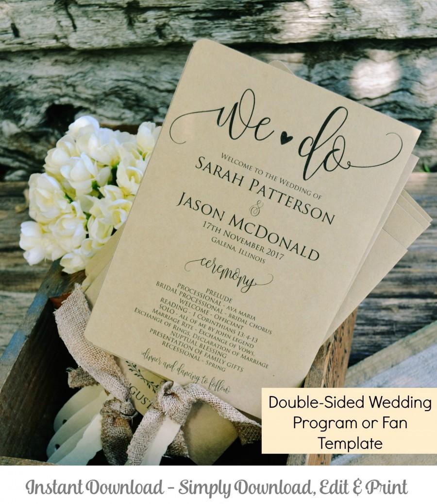 Printable Wedding Program Template We Do Rustic Ceremony Program - 5x7 wedding program template