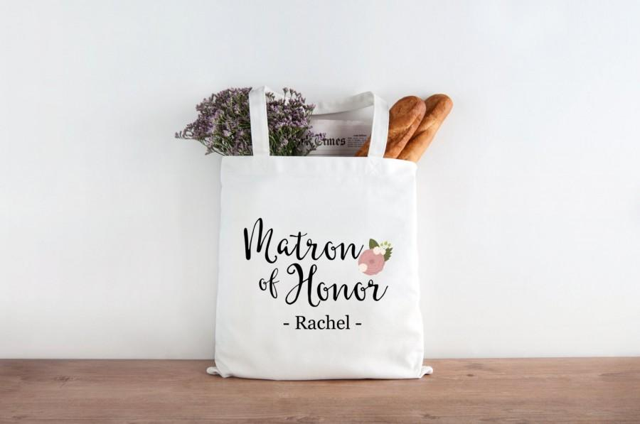 Mariage - Personalized Matron of Honor Gift Bridesmaid Wedding Favor Tote Wedding Welcome Bags