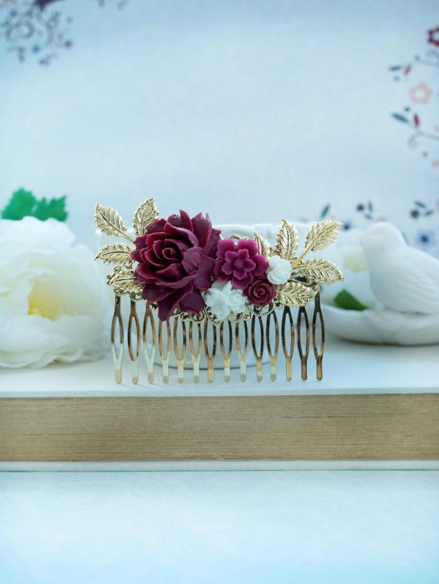 Burgundy Red And White Flower Gold Comb, Marsala Red White Large ...