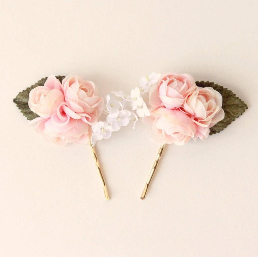 Pink Or White Bobby Pins Pastel Floral Hair Pin Set Ranunculus