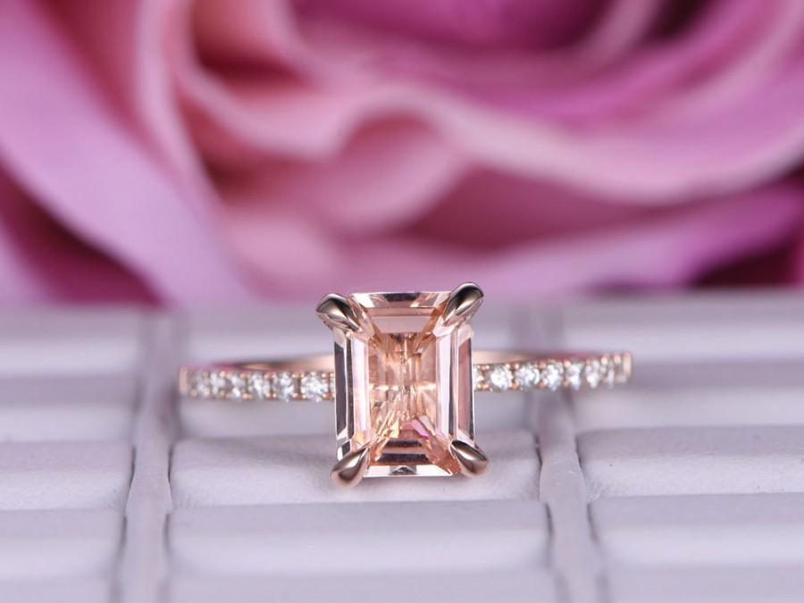 زفاف - 6x8mm Morganite Engagement ring/in 14k rose gold diamond band/Claw Prong Stacking wedding ring/Emerald cut pink morganite ring/Pave set