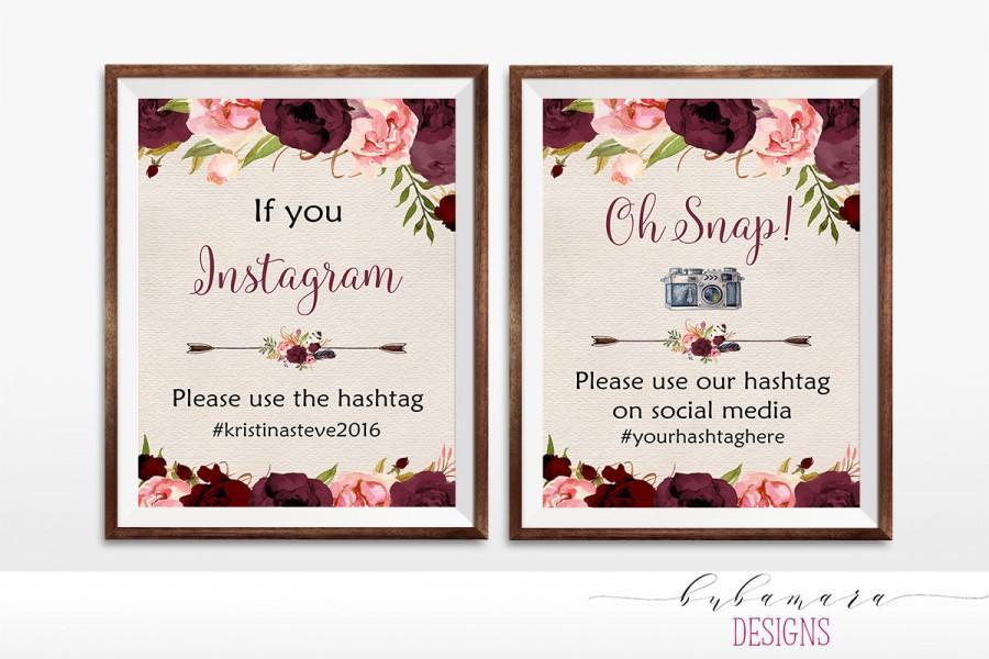 Mariage - Printable Floral Marsala Oh Snap Sign Boho Digital Burgundy Flowers Instagram Wedding Reception Bohemian Hashtag Wedding Poster - WS015