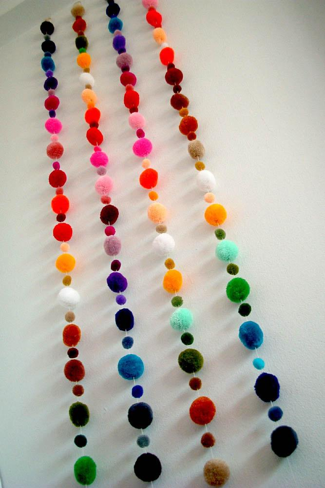 Mariage - Party Yarn Pom Pom Garland, pom poms, yarn ball, scarf, purple, green, red, orange, mobile, brown, cream, orange, carnival, 15 feet