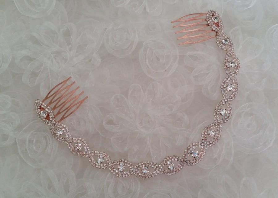 7d0594c03164 ROSE GOLD Bridal Assemblage Headband Crystal Hair Accessories Wedding  Braided Gift Idea Classic Elegant Bride Hair Wreath Hair Combs
