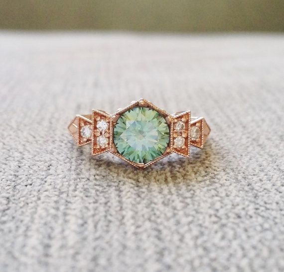"Hochzeit - Antique Diamond Mint Moissanite Engagement Ring Rose Gold 1920s Copper Gemstone Rustic Bohemian PenelliBelle Green Exclusive ""The Florence"""