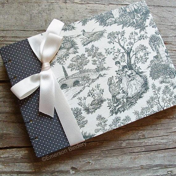Hochzeit - Wedding Guest Book Or Snapshot Photo Book, Versailles Country Toile Black And Ivory, SMALL 7x5, READY To SHIP