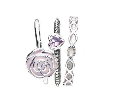 Mariage - Pandora Rose-Tinted Ring Stack