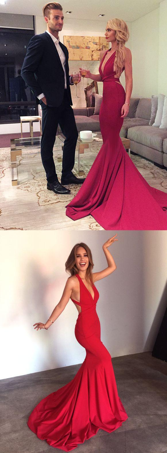 Mariage - Sexy Red Mermaid Long Prom Dress Formal Evening Dress With Criss Criss Back From Modseleystore