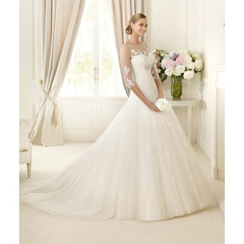 Wedding - Exquisite A-line Bateau Half Sleeve Beading Lace Sweep/Brush Train Tulle Wedding Dresses - Dressesular.com