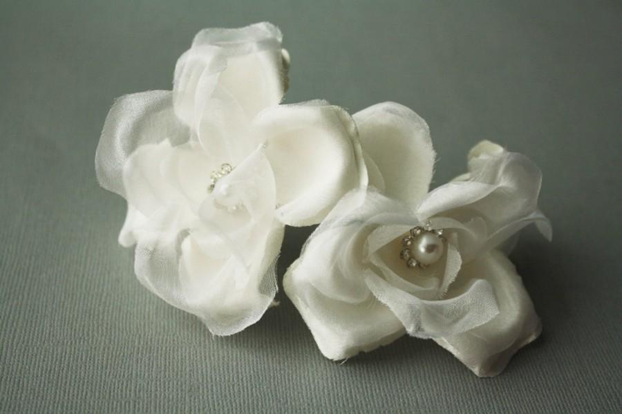 Wedding - Silk Flower Hair Pins, Bridal Flower Hair Pin, Wedding Hair Pins, Wedding Flower Headpiece, Bridal Hairpiece