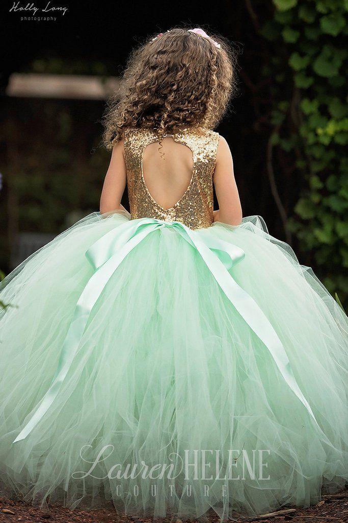 زفاف - Mint And Gold Sequin Princess Flower Girl Dress