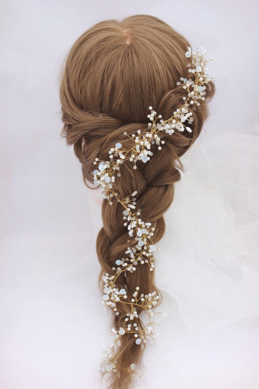 Mariage - Long hair vine Crystal golden wreath Headband Hair Accessories Bridal Diadem Gold Accessory Delicate Bohemian Wreath Gold Baby's Breath Halo