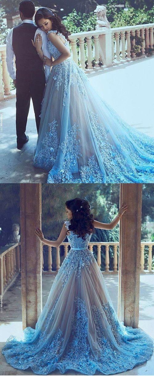 Mariage - A-Line Sequare Chapel Train Sleeveless Blue Tulle Wedding Dress With Appliques Sash