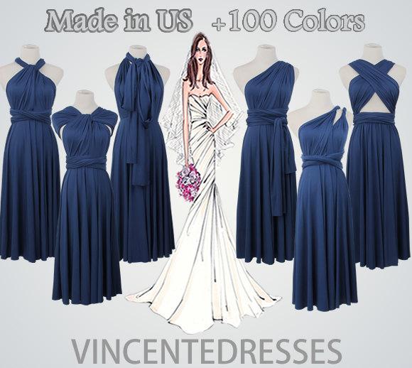 Nozze - Knee-length Navy Dress,Navy Blue Dress,navy Bridesmaid Dress,Short Navy Dress,Navy Convertible Dress,Navy Dresses short