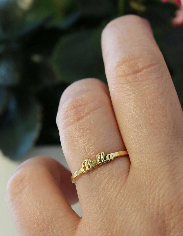 Tiny Gold Name RingName RingGold JewelryName JewelrySterling