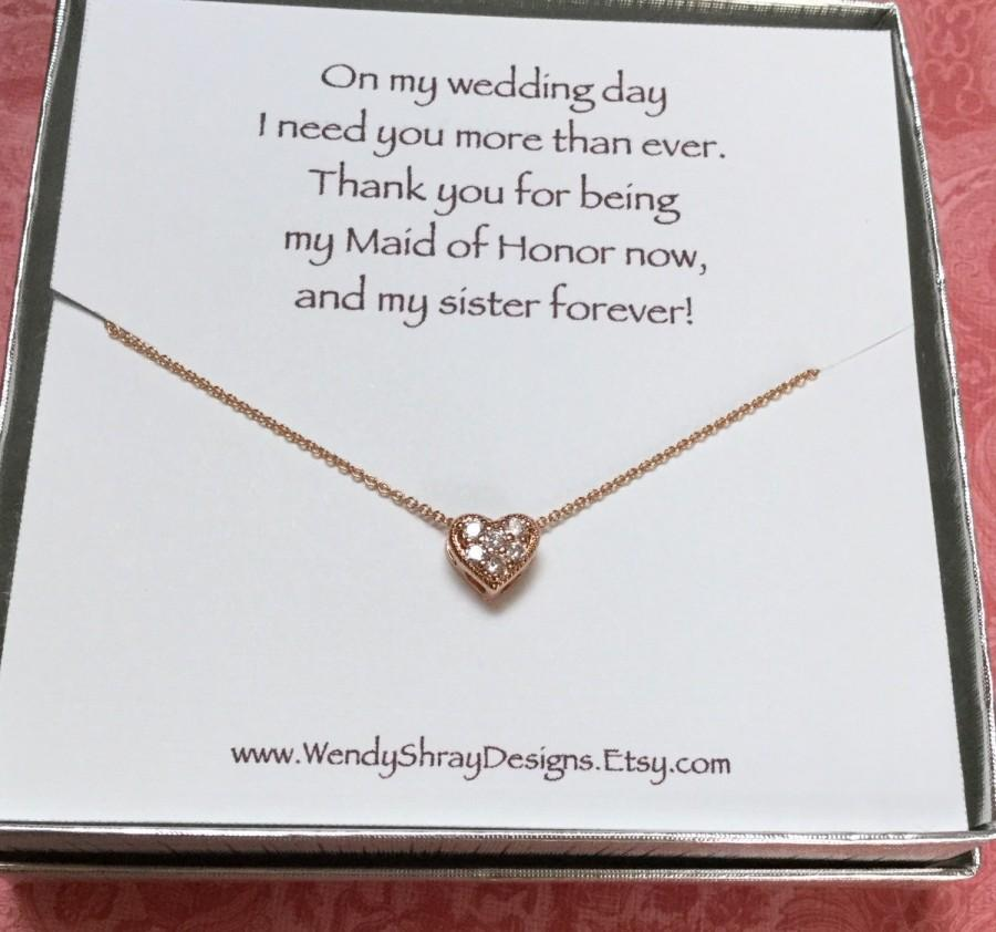 Wedding - Rose gold cz heart necklace, cubic zirconia, flower girl, wedding, bridesmaid, maid of honor gift, bridal party gift, box chain N301B