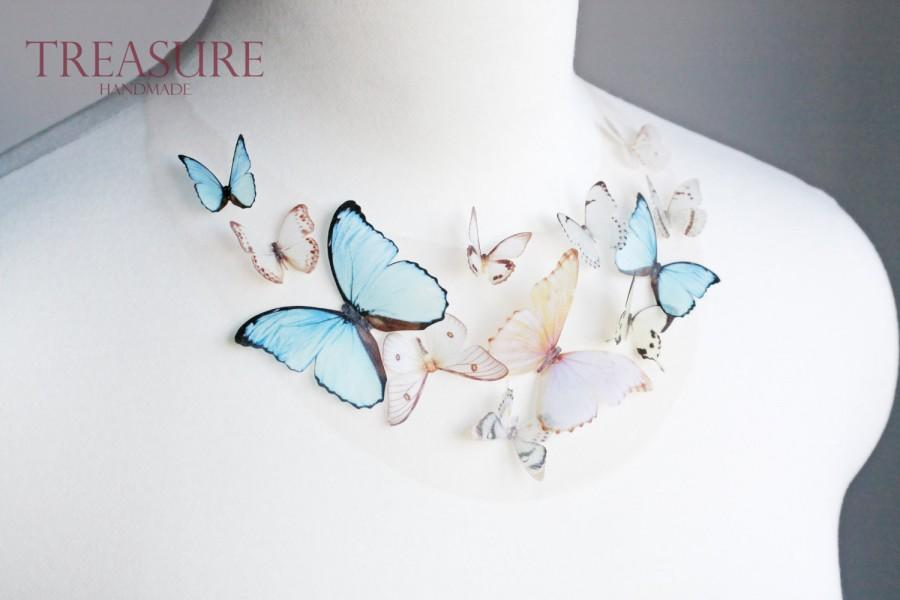 Blue Butterfly Necklace Bridal Butterfly Necklace Bridal Necklace