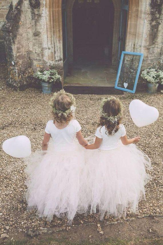 Wedding - Blush Pink - Flower Girl Tulle Skirt In Light Pink And Ivory - Sewn Long Length Tutu Skirt - Choose Your Size And Length - Weddings