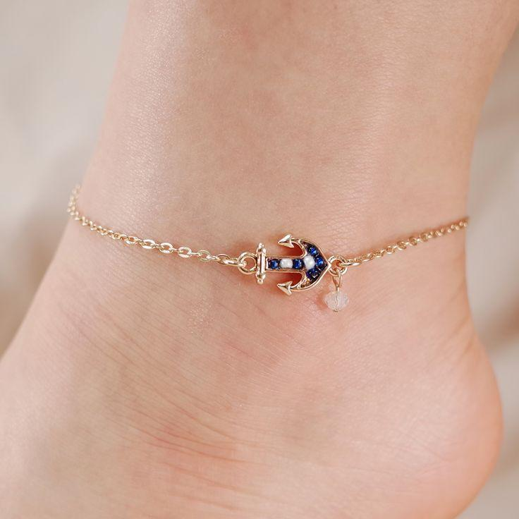Mariage - Anchor Seed Bead Chain Link Anklet
